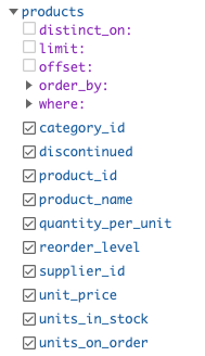 hasura query example products table