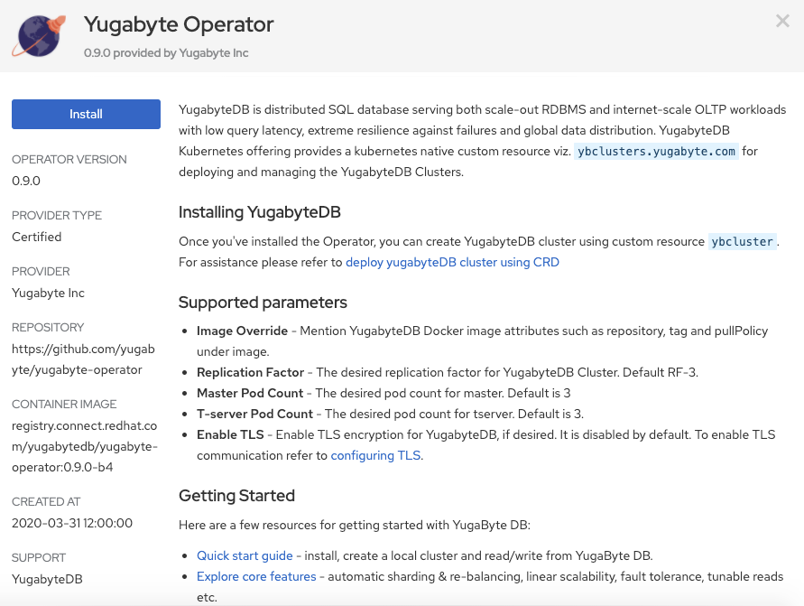 YugabyteDB now in beta in OperatorHub Red Hat OpenShift