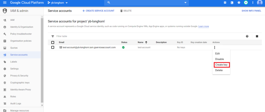 add the private key from the GCP service account distributed sql yugabytedb longhorn tutorial