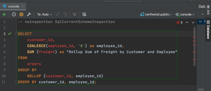 IntelliJ YugabyteDB tutorial,  test the integration by executing the following query in IntelliJ