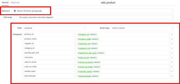 create new add product feature retool yugabyted postgres compatible demo
